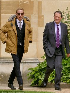 Back for another round: Laurence Fox andKevin Whately were spotted shooting the new series of ITV detective drama Lewis in Oxford on Monday