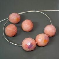 6 geschliffene böhmische Glasperlen | Rosa AB | 12mm *pe3252 - JAUL.biz