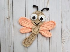 Sparks the Dragonfly Applique Pack- Crochet Pattern Only- Dragonfly- Baby Dragonfly- Dragonfly Applique- Crochet Applique Pattern Crochet Applique Patterns Free, Crochet Motifs, Knitting Patterns, Crochet Appliques, Blanket Patterns, Crochet Amigurumi, Crochet Toys, Crochet Baby, Crochet Crafts