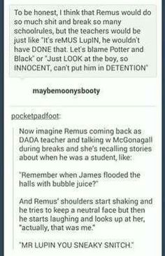 Remus Lyall Lupin: the actual mastermind behind all the pranks the marauders pulled. Harry Potter Jokes, Harry Potter Fandom, Harry Potter World, Hogwarts, Slytherin, Drarry, Fandoms, Must Be A Weasley, Maxon Schreave