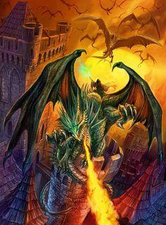 Dragons attack castles