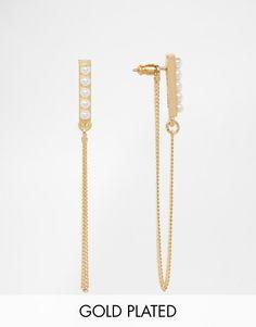 Pilgrim+Pearl+&+Gold+Plated+Through+&+Through+Earrings