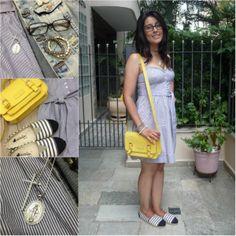 Stripe, dress, yellow bag and flats. Vestido listrado, bolsa marela e alpargatas. LInk: http://www.elropero.com/2014/02/fashion-set-listras-com-listras.html