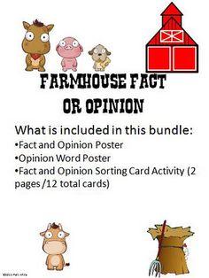 Farmhouse Fact or Opinion Freebie to Celebrate One Million Hits