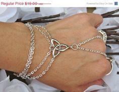 Sized Celtic Hand Chain, Slave Bracelet, Ring Bracelet, Irish Pride, Celtic, Knot, Infinity, Trinity, SP Chain,Hand Jewelry, Jewelry,Custom on Etsy, $17.10