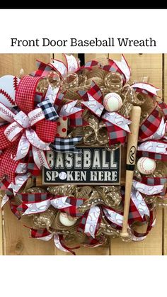 Baseball Wreath Wreath for Front Door Spring Wreath Sports Baseball Wreaths, Sports Wreaths, Baseball Crafts, Wreaths And Garlands, Deco Mesh Wreaths, Wooden Wreaths, Diy Origami, Front Door Decor, Wreaths For Front Door