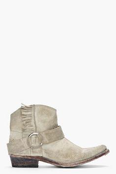 Golden Goose Beige Distressed Suede Fringe Rennie Boots for women | SSENSE