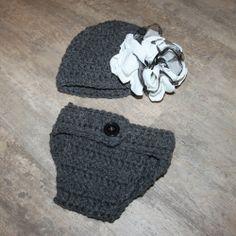 Crochet Newborn Baby Grey Hat & Diaper cover set with flower photo prop