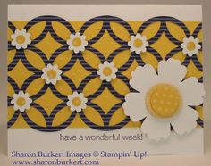 handmade card ... bright yellow with purple lattice die on top ... Blossom punch flower with yellow print paper center ... little punched daisies on the lattice die intersections ... pleasing card ... Stampin' Up!