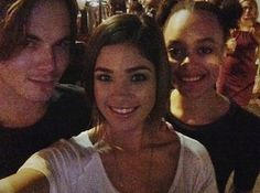 Tyler Blackburn, Nicole Gale Anderson and Britne Oldford on the set of Ravenswood