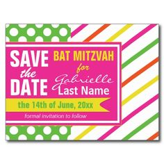 Bold Stripes and Polka Dots Bat Mitzvah Post Cards #batmitzvah #savethedates #monogrammed