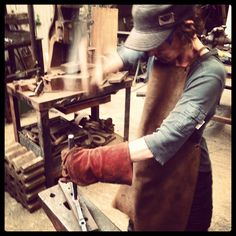 Punching holes. Artist/Blacksmith BexSimon
