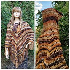 Crochet Boho Caramel Macchiato Ladies Hooded Poncho DIGITAL