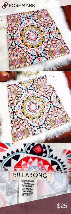"Billabong Tribal Multi Color Mini Skirt  Size S Pretty and trendy Billabong Tribal Multi Color Mini Skirt by PacSun! Garterized waist Size: Small Waist: 13"" flat across Hips: 15.5"" Length: 16"" -Condition:Brand New with Tag MSRP$45      +tax Bundle up and save!No Trades please Reasonable offers are welcome. *Christian J. -Posh Ambassador;Posh Compliant *500+ Items listed, check out and shop!  *N2 Billabong Skirts Mini"