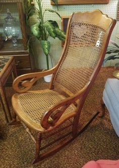 Early Caned Lincoln Rocker - local pickup only! - For sale! Antique in great condition!