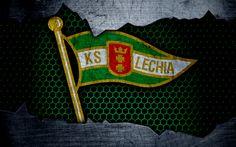 Download wallpapers Lechia, 4k, logo, Ekstraklasa, soccer, football club, Poland, grunge, Lechia Gdansk, metal texture, Lechia FC