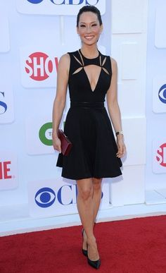 Lucy Liu Little Black Dress - Lucy Lui took the plunge with this daring little black dress.