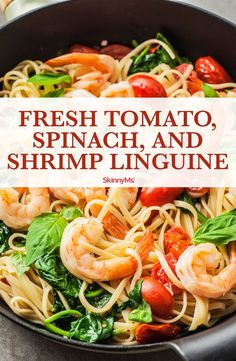 This Fresh Tomato, Spinach, and Shrimp Linguine is a light and simple pasta dish that proves you don't have to sacrifice quality ingredients for ease. pasta Fresh Tomato, Spinach, and Shrimp Linguine Shrimp Linguine, Linguine Recipes, Shrimp And Spinach Recipes, Fresh Tomato Recipes, Spinach Shrimp Pasta, Spinach And Tomato Pasta, Simple Shrimp Recipes, Pasta With Shrimp, Recipes With Basil