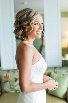 Beach wedding hair idea - curly sideswept updo {Rising Lotus Photography}