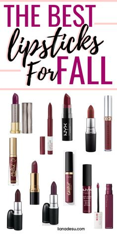 Best Deep Berry-Toned Lip Shades for Fall Fall/Autumn is all about dark berry toned lipstick shades to create a sultry and vampy look. Check out these dark lipsticks, both drugstore and high end, that are perfect to try for the fall/autumn season! Dark Lipstick Shades, Fall Lipstick Colors, Lip Colors, Dark Berry Lipstick, Lipstick Style, Lipgloss, Lipstick Swatches, Best Drugstore Makeup, Best Makeup Products