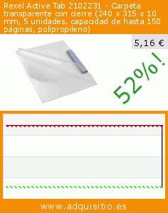 Rexel Active Tab 2102231 - Carpeta transparente con cierre (240 x 315 x 10 mm, 5 unidades, capacidad de hasta 150 páginas, polipropileno) (Productos de oficina). Baja 52%! Precio actual 5,16 €, el precio anterior fue de 10,86 €. http://www.adquisitio.es/rexel/active-tab-2102231
