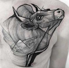 De estilo boceto toro tatuaje por Frank Carrilho