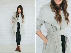How to wear a wrap coat: open + draped [tie the belt in the back & cinch it tight for a street style look]