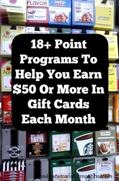 18+ point programs to help you earn $50 or more in gift cards each month.