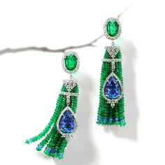 @thejewellcloset - Stunning Emerald, Diamond& Tanzanite Earrings by House of Rose.