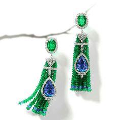 @thejewellcloset - Stunning Emerald, Diamond& Tanzanite Earrings by House of Rose.