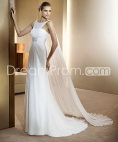 Buy Cheap Cheap Luxurious Empire Floor-Length Watteau Train Chiffon Wedding Dresses CH205066 Default Category under $255.79 only in udreamprom.