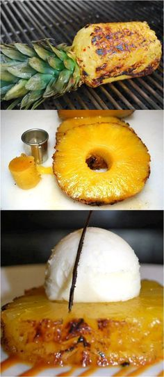 Grilled Pineapple with Vanilla Bean Ice Cream. The healthiest, best-tasting dessert I've ever had. The flavors mix perfectly!