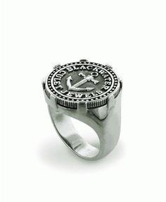 Culet Mens Silver Anchor ring