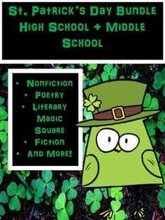 "This St. Patrick's Day Bundle is made specifically for high school students to practice literary skills! Includes Poetry, Nonfiction, Fiction, and Literary Devices. Great to use in ""stations!""Every product is also sold separately  under a different listing."
