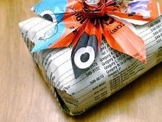 Cut down on wrapping paper by using newspaper.