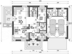 Rzut parteru projektu Koralgol II K Garage, Floor Plans, How To Plan, Home, Houses, Carport Garage, Garages, Haus, Homes