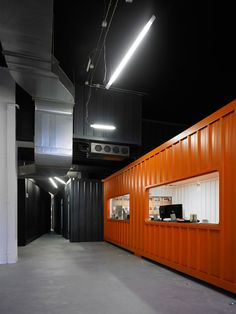 Cargo containers in offices office design. Possibly a box office within our space...