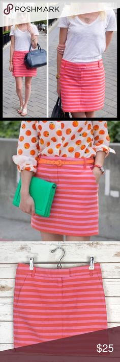 j. crew // textured stripe postcard mini skirt Our favorite new mini: Finished with trouser-inspired details like a front fly with a tab closure waistband and slant pockets, this structured silhouette looks amazing in unexpected neon pink and orange textured stripes. Sport it on the streets with chic ankle booties or on the shore with your favorite flip-flops. Super cute with a button down or chambray in spring. Cotton/nylon. Great preowned condition, no flaws to note. Sits at hip. Top of…