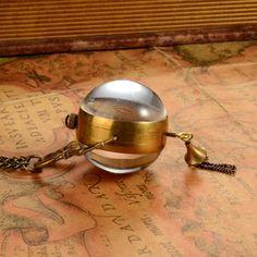 Vintage Hand Wind Mechanical Quartz Ball Glass Pocket Watch Pendant with Chain Mechanical Pocket Watch, Watch Necklace, Roman Numerals, Keychains, Quartz, Watches, Antiques, Pendant, Glass
