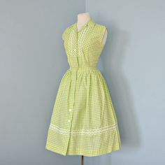 Vintage Cotton Dress...Cute 1960's Cotton Green and White Gingham Two Piece Summer Dress  Deoma's on Etsy