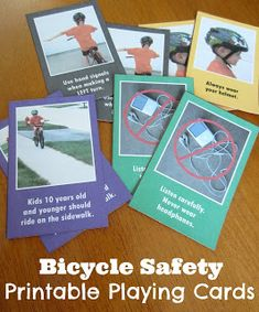FREE printable Bicycle Safety Playing Cards. Don't just tell your kids the rules for riding safely, use these cards to make learning the rules fun!