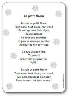 Risultati immagini per poésie hiver maternelle gs Education And Literacy, Kids Education, French Poems, French Practice, Christmas Sheet Music, Teacher Boards, Kindergarten Lesson Plans, French Immersion, French Language Learning