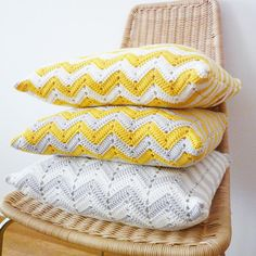 Chevron Crocheted Pillow  Organic Cotton by MartaCostaStudio