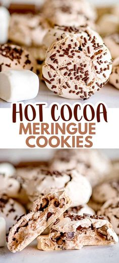 Hot Cocoa Meringue Cookies are hot chocolate flavored meringue cookies that are light and airy with chocolate chips folded into them. Chocolate Meringue Cookies, Chocolate Sprinkles, Chocolate Flavors, Chocolate Chips, Hot Chocolate, Meringue Cookie Recipe, Chocolate Gifts, Candy Recipes, Sweet Recipes