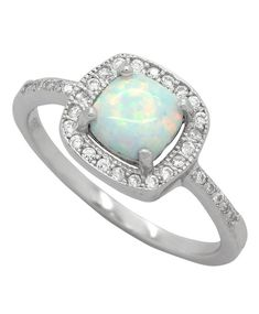CloseoutWarehouse Sun Cluster White Simulated Opal 925 Sterling Silver Size 6