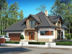 Zdjęcie projektu Opałek II N Dream House Exterior, Exterior House Colors, Exterior Design, Home Building Design, Home Design Plans, Building A House, Modern House Floor Plans, Modern Bungalow House, Style At Home