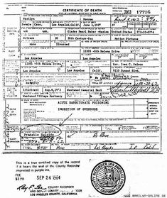 Marilyn Monroe: Certificate of death