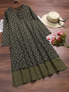 Vintage Stitching Floral Printed Fake Two Pieces Dress