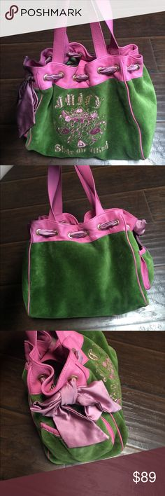 Pink and Green Juicy Couture Handbag Medium sized pink and green juicy couture Handbag. very clean, gently used, bag has no marks on the bottom. The bow is a little bit worn looking but not bad; I only mentioned it because that's being honest; but looking at it, it doesn't look bad or anything... pictures are provided.  bag is in very good condition. Juicy Couture Bags Shoulder Bags