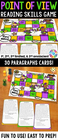 Point of View Board Game contains 30 paragraph game cards and a game board to help students practice identifying whether a passage is being told from the first person, second person, third person limited, or third person omniscient point of view. This game works great as a pair/group activity, or for use in literacy centers!